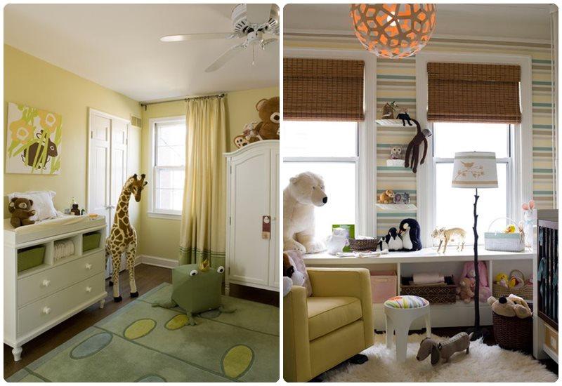 Habitación del bebé decorada con peluches