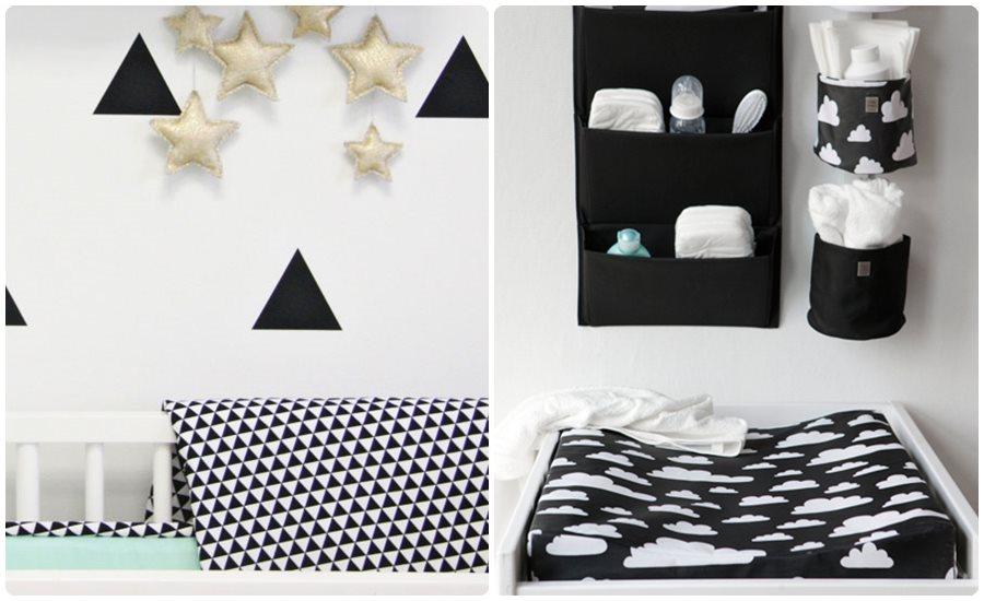 Habitaciones para bebés con detalles en blanco y negro