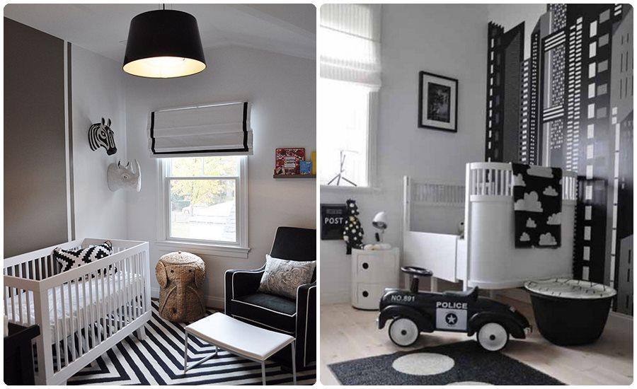Habitaciones para bebés en blanco y negro