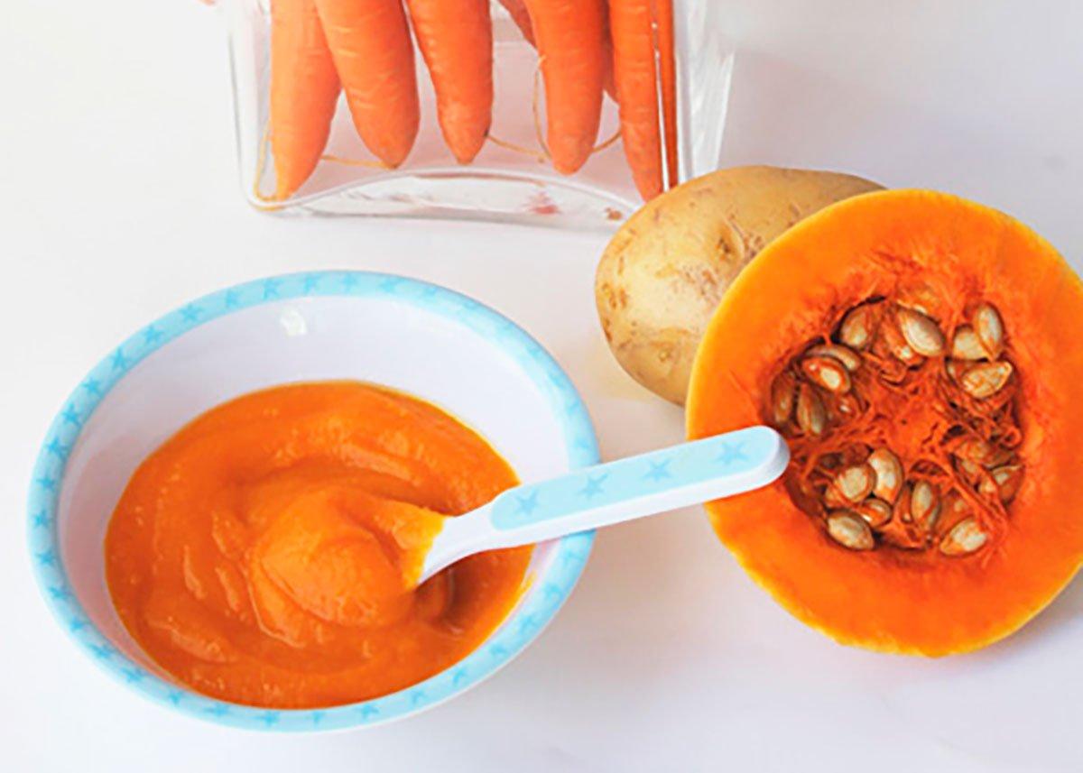 Puré de calabaza, zanahoria y patatas