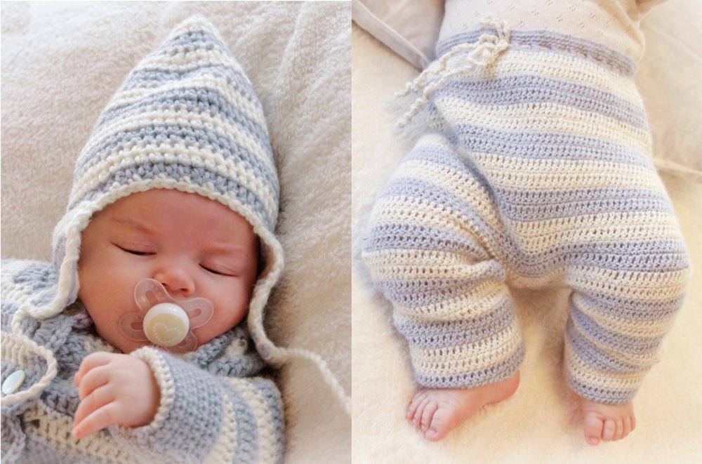 gorrito y pantalón de ganchillo para bebés