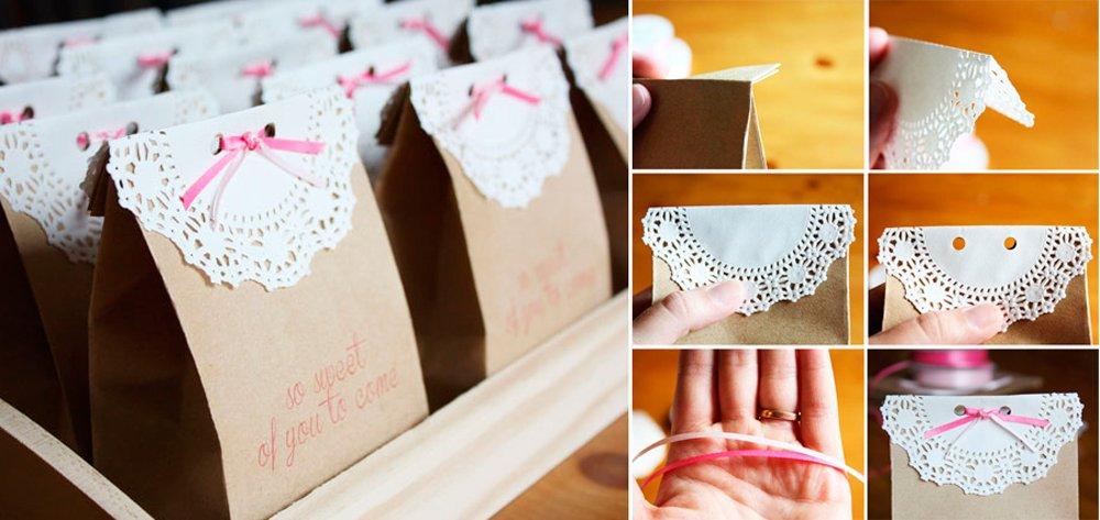 Bolsas con dulces como detalle de bautizo