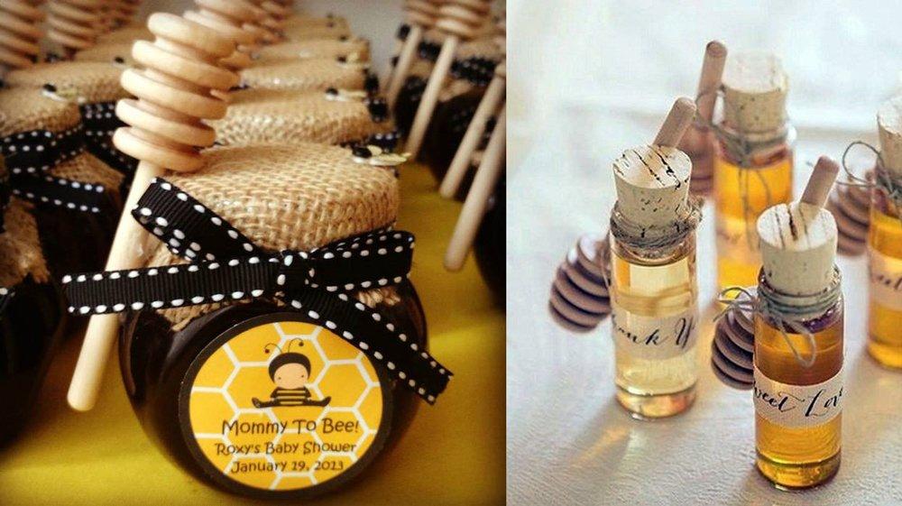 Frascos de miel como detalle para bautizos