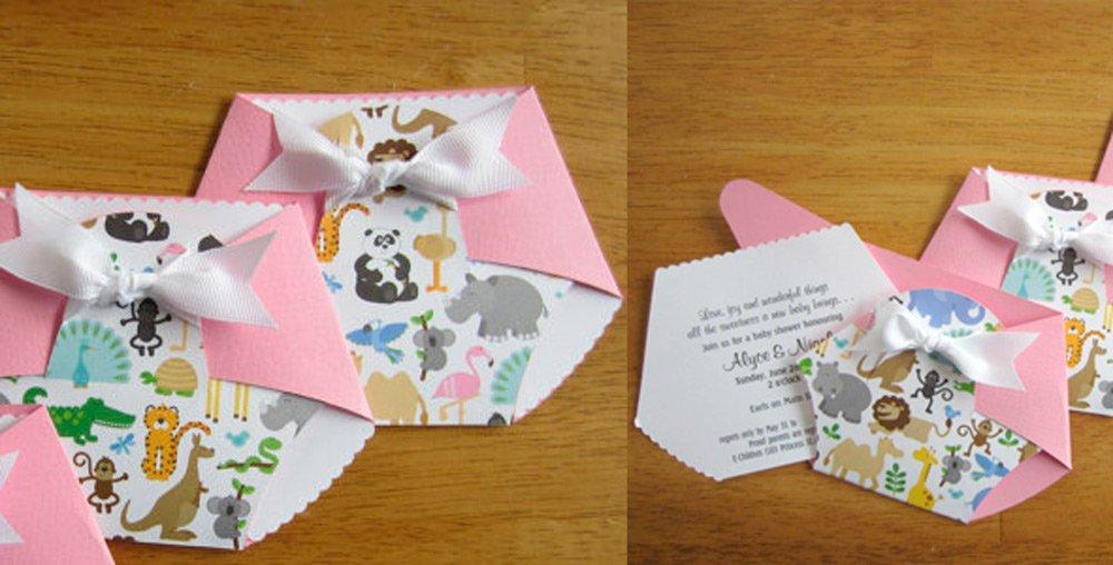 Invitación en forma de pañal para un baby shower especial