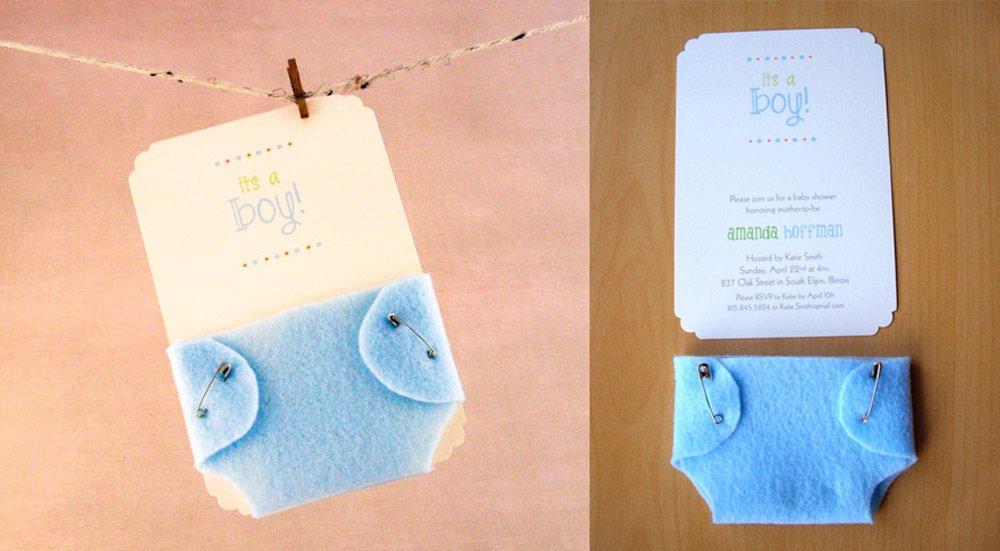 invitación baby shower con pañal de fieltro handmade