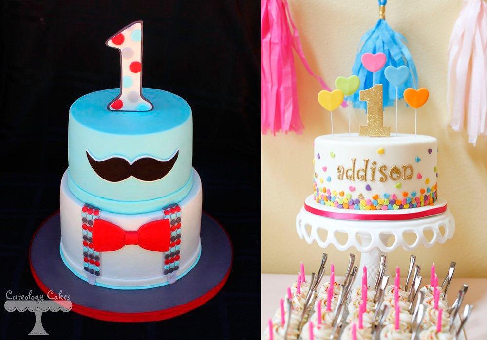 tartas del primer año decoradas con fondant