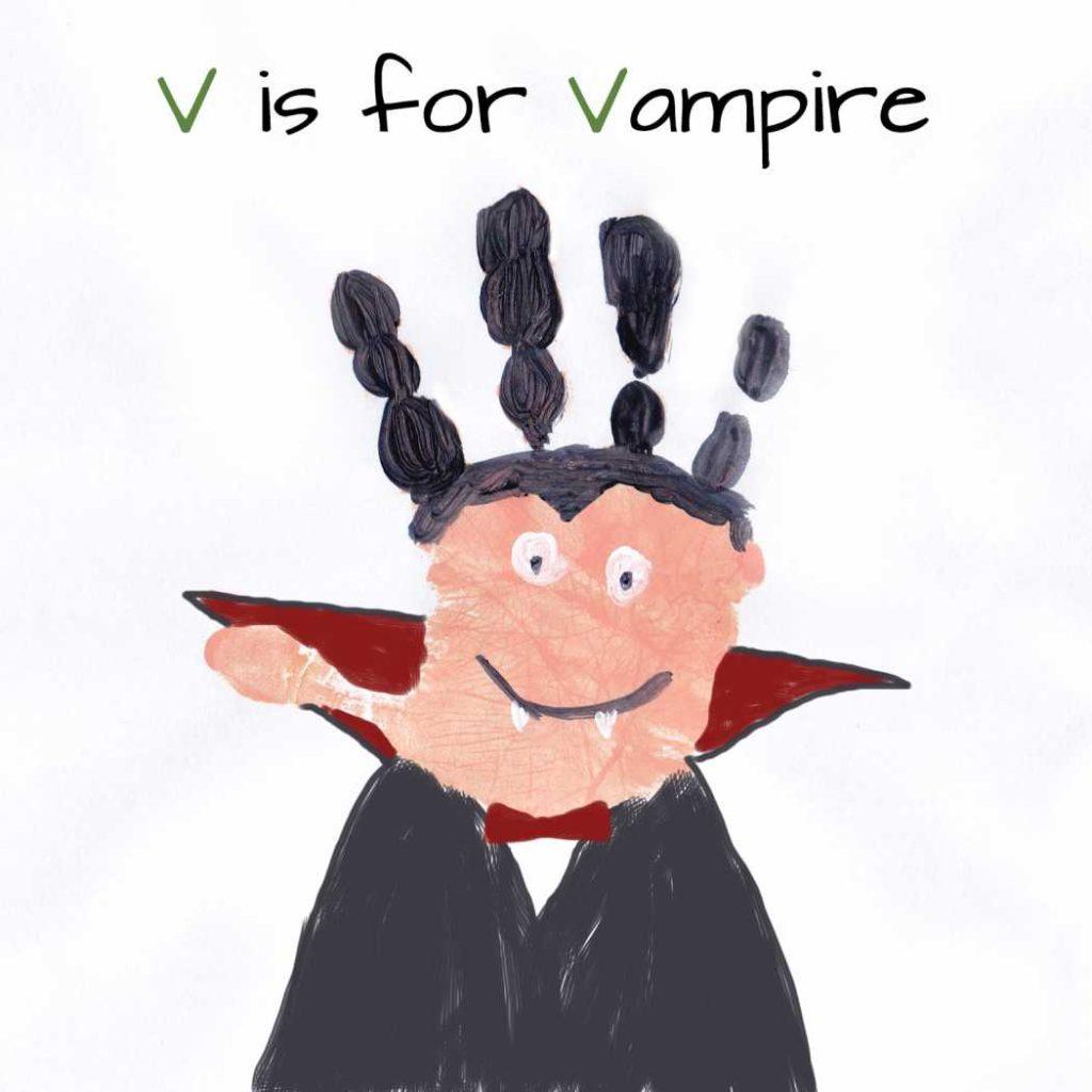 Manualidades de Halloween: vampiros con huellas