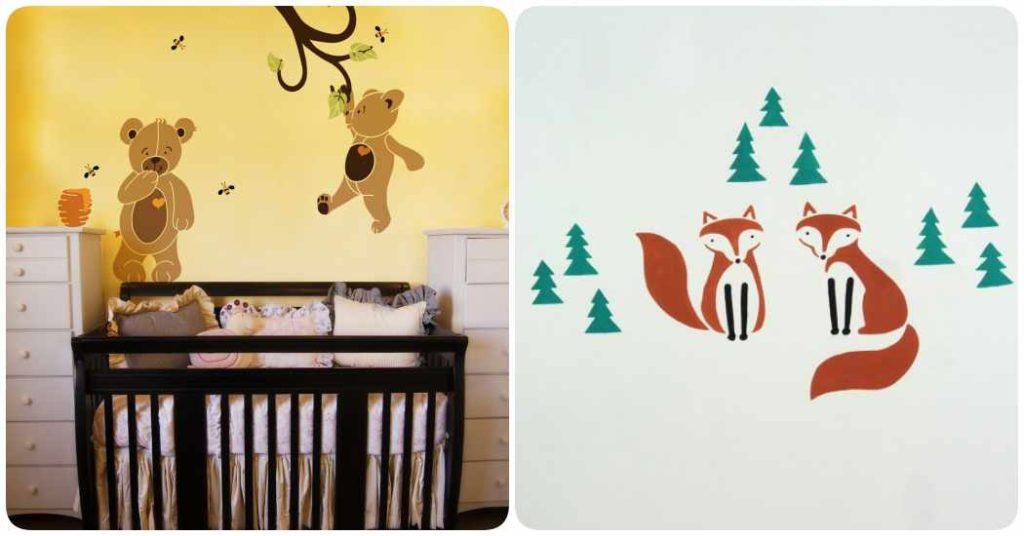 Decoración infantil: dibujos con stencil en las paredes