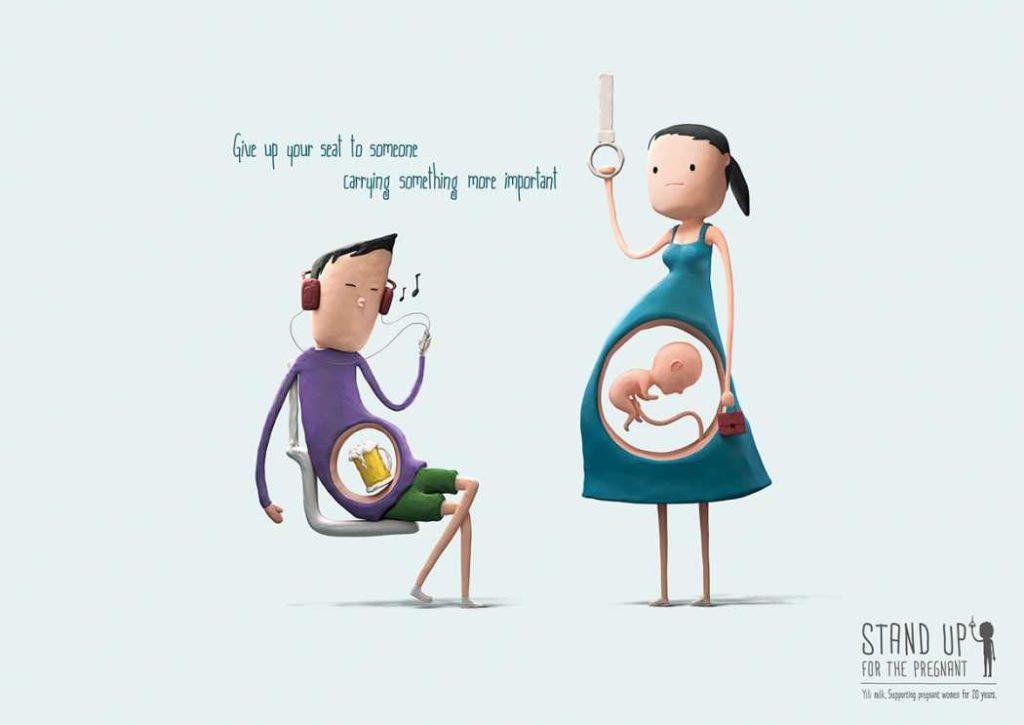 Ceder el asiento a una embarazada y su bebé