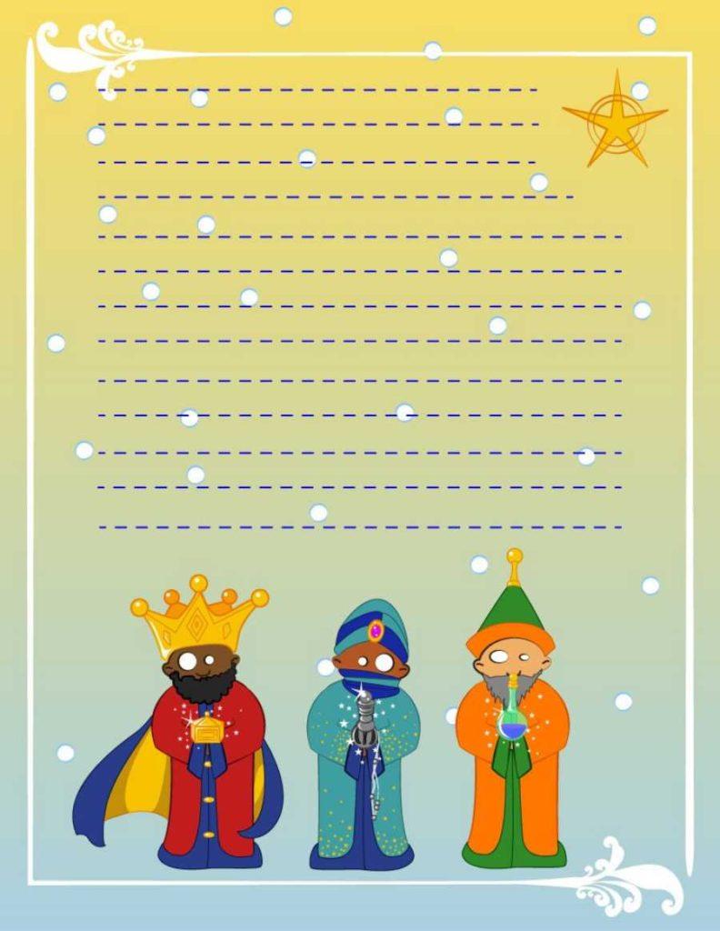 Carta a los Reyes Magos a color gratis