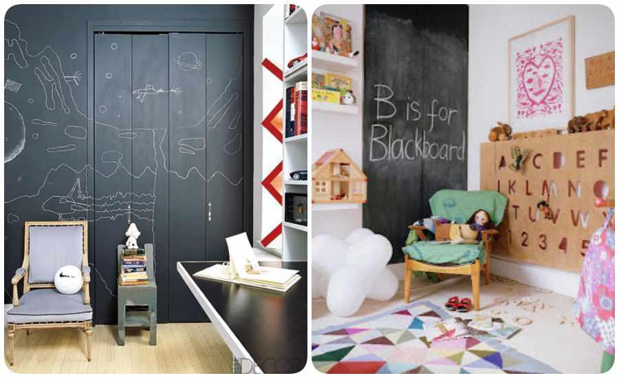 Habitaciones de bebé con paredes de pizarra