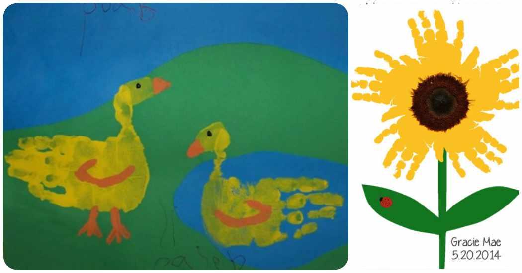 Arte con huellas infantiles