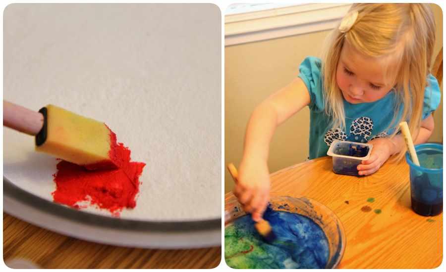 Pintura sobre hielo, actividad para niños