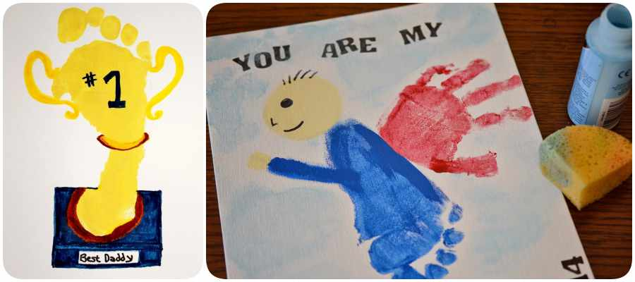 Manualidades para el Día del Padre: tarjetas con huellas