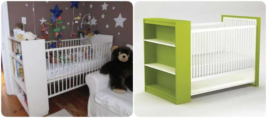 Cuna Ikea personalizada con estanterías.