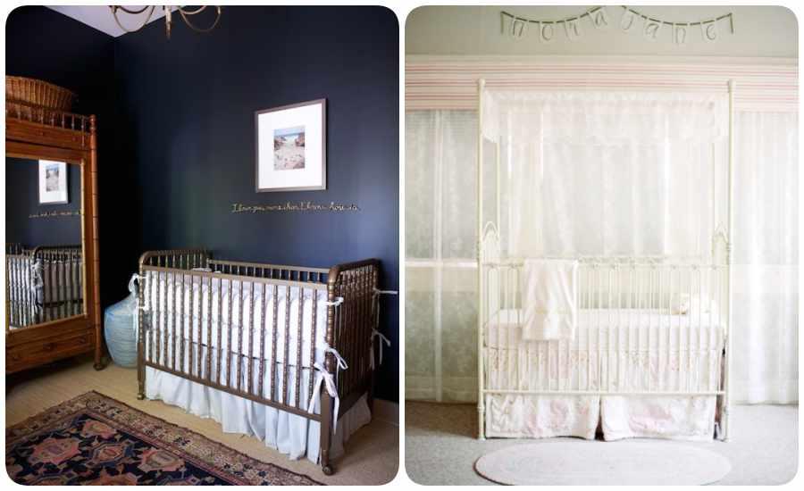 Decoración de la habitación del bebé en blanco o azul