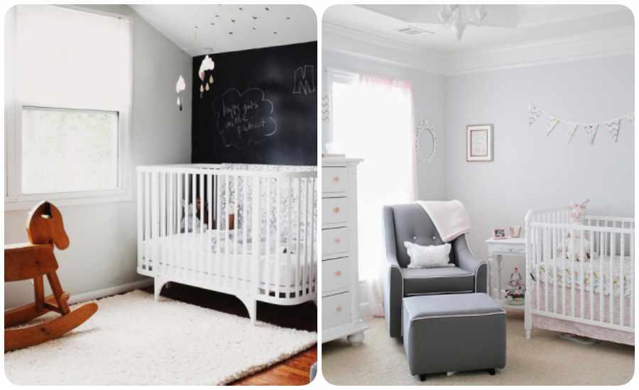 Decoración de la habitación del bebé en blanco y negro