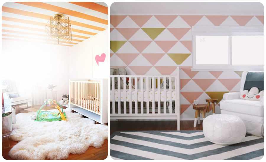 Decoración de la habitación del bebé con stencil